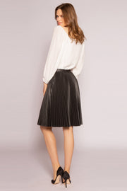 Black Leather Pleated Skirt by Lavender Brown 002