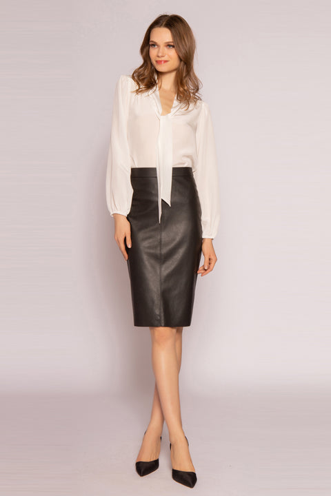 Black Leather Pencil Skirt by Lavender Brown 001
