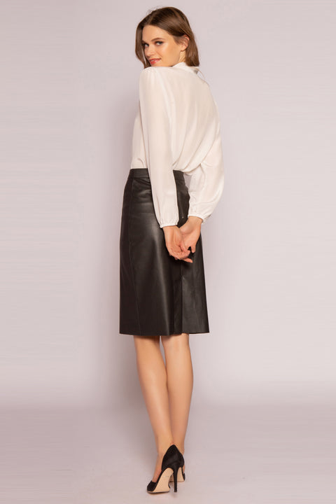 Black Leather Pencil Skirt by Lavender Brown 002