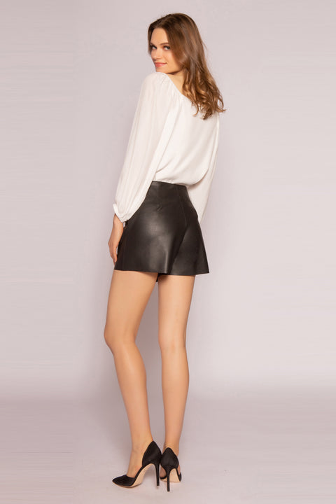 Black Leather Wrap Shorts by Lavender Brown 002