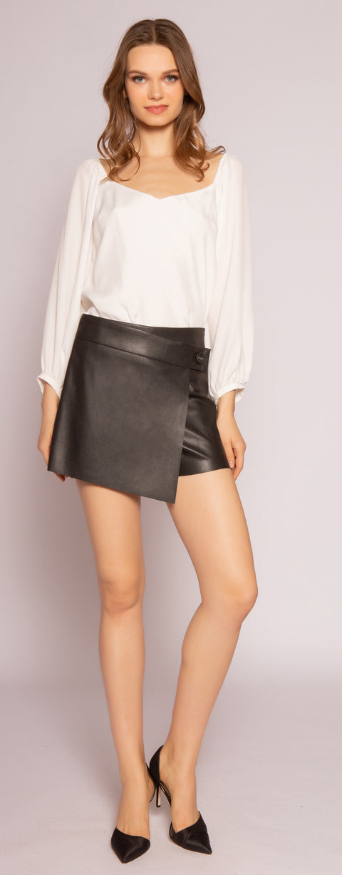 Black Leather Wrap Shorts by Lavender Brown 001
