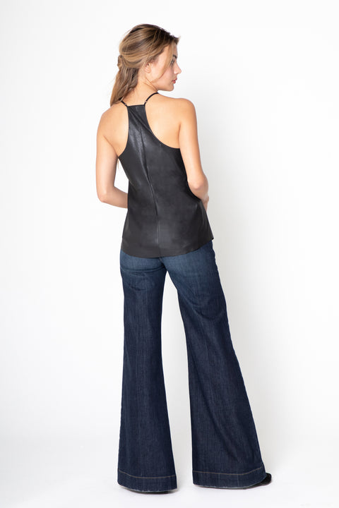 Black Leather Racerback Cami Top by Lavender Brown 002