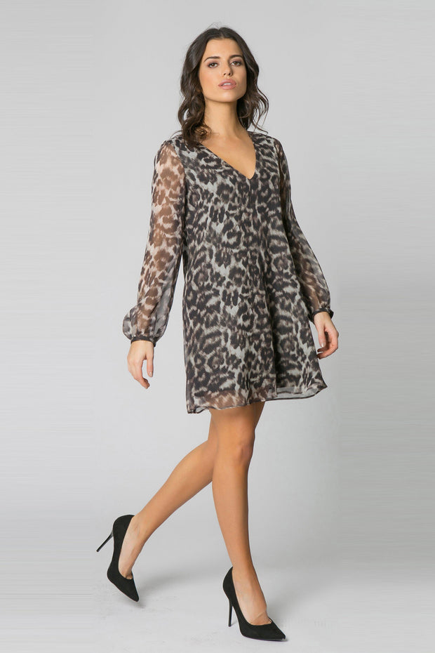 Brown Long Sleeve Leopard Silk Swing Dress by Lavender Brown 001