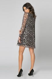 Brown Long Sleeve Leopard Silk Swing Dress by Lavender Brown 002