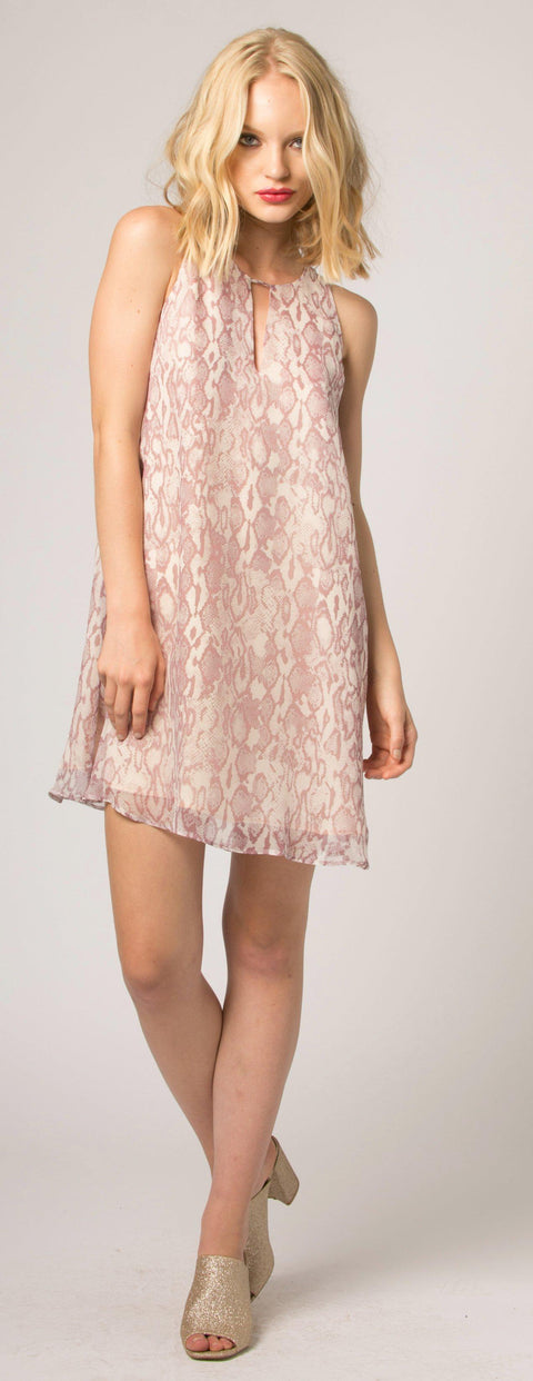 Pink Snakeskin Silk Shift Dress by Lavender Brown - 1