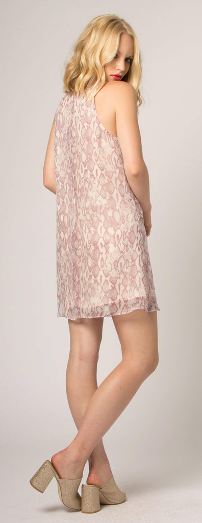 Pink Snakeskin Silk Shift Dress by Lavender Brown - 2