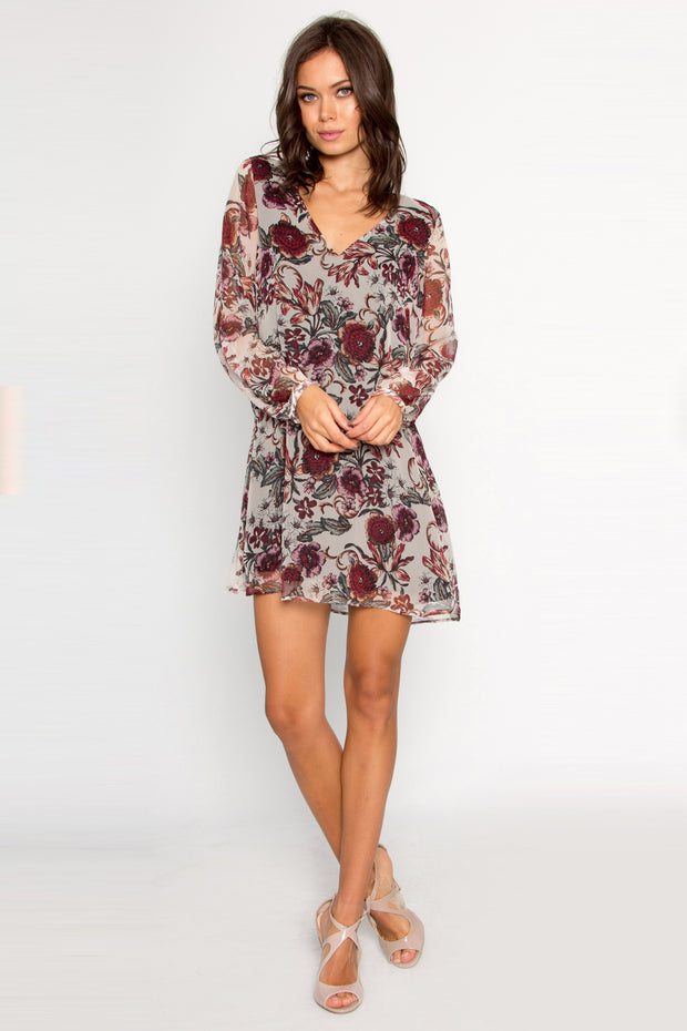 Ivory Long Sleeve Silk Floral Dress by Lavender Brown 001