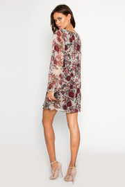 Ivory Long Sleeve Silk Floral Dress by Lavender Brown 002