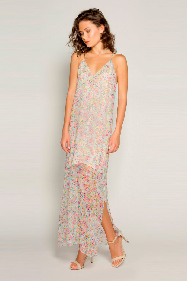 Pink Sleeveless Silk Floral Maxi Dress by Lavender Brown 001
