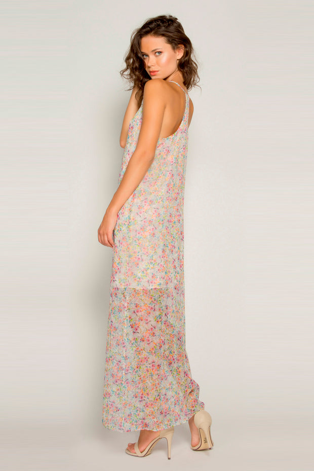 Pink Sleeveless Silk Floral Maxi Dress by Lavender Brown 002
