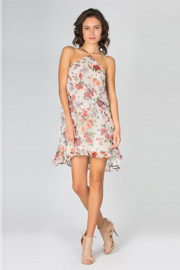 Ivory Grecian Neck Floral Silk Dress by Lavender Brown 001