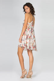 Ivory Grecian Neck Floral Silk Dress by Lavender Brown 002