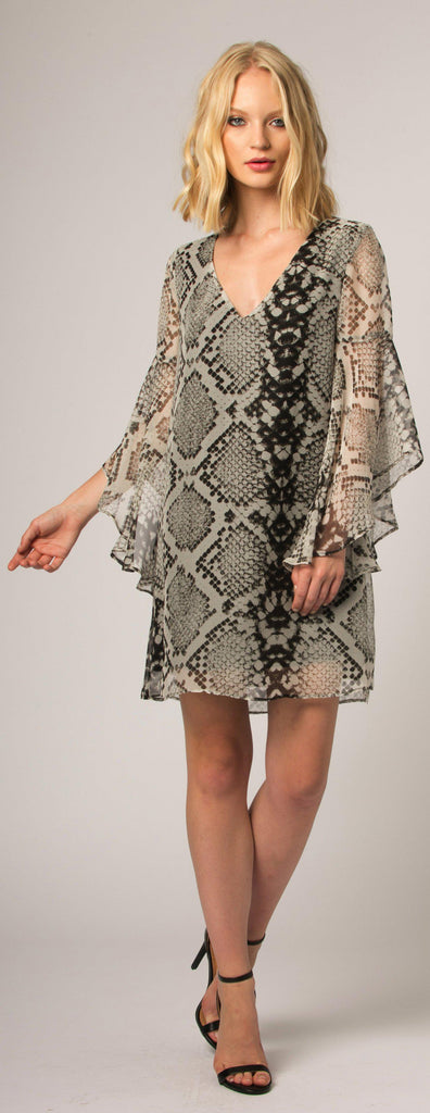 Brown Snakeskin Silk Shift Dress by Lavender Brown - 1