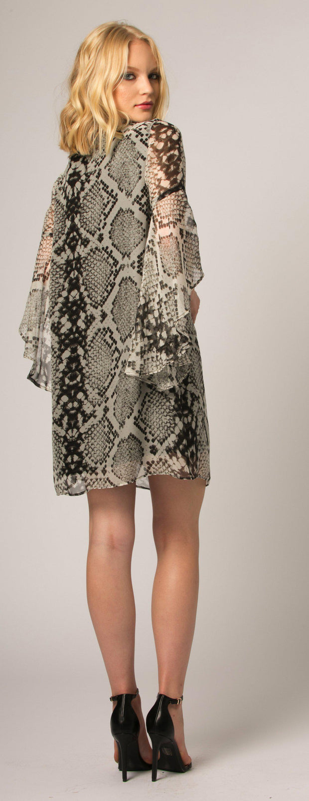 Brown Snakeskin Silk Shift Dress by Lavender Brown - 2