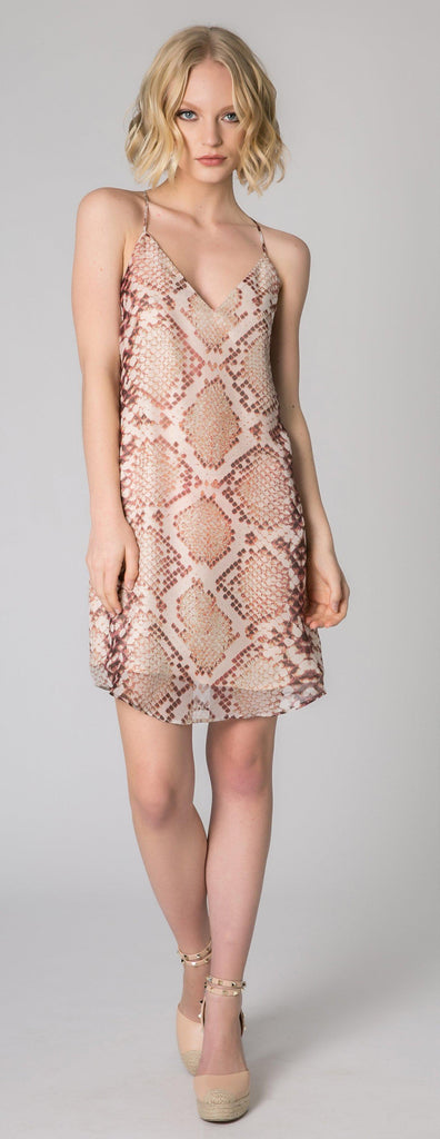Pink Snakeskin Racerback Silk Dress by Lavender Brown - 1