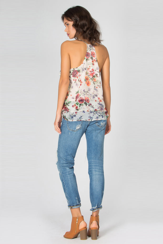 Ivory Overlay Floral Silk Top by Lavender Brown 002