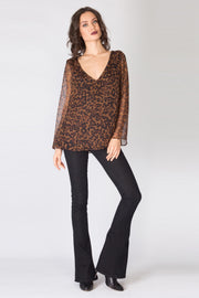 Brown Long Sleeve Leopard Silk Blouse by Lavender Brown 001