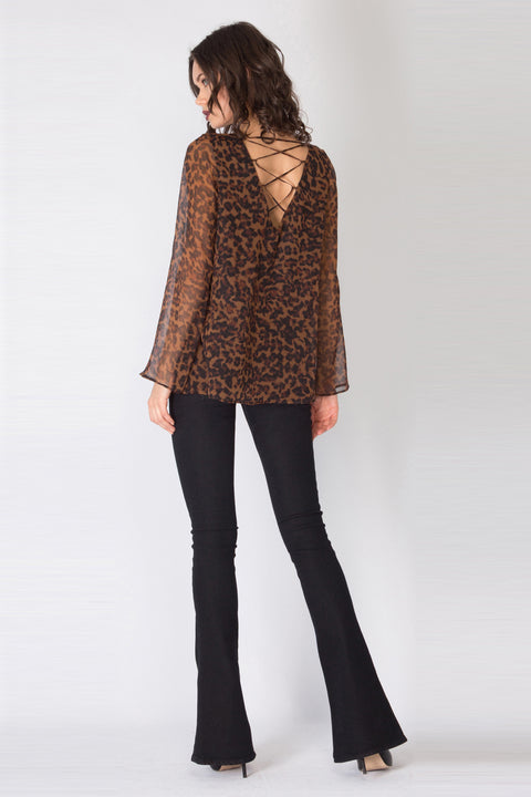 Brown Long Sleeve Leopard Silk Blouse by Lavender Brown 002