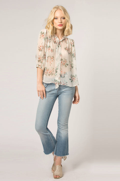 Ivory Tie Neck Silk Floral Blouse by Lavender Brown 001