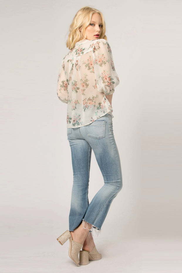 Ivory Tie Neck Silk Floral Blouse by Lavender Brown 002