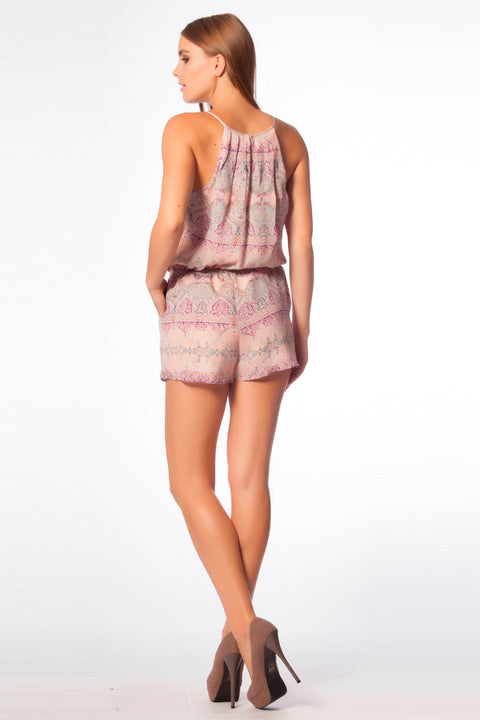 Beige Silk Blend Sleeveless Abstract Romper by Lavender Brown 002
