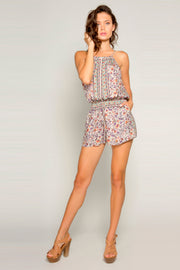 Ivory Sleeveless Floral Romper by Lavender Brown  001