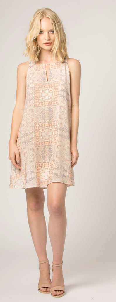 Orange Sleeveless Floral Shift Dress by Lavender Brown - 1