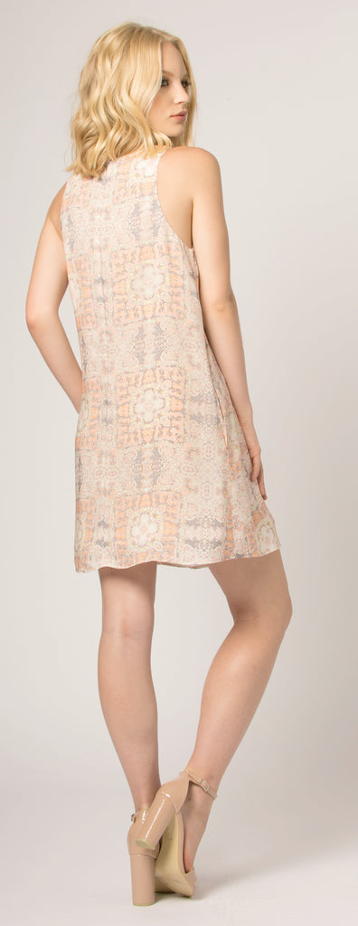Orange Sleeveless Floral Shift Dress by Lavender Brown - 2