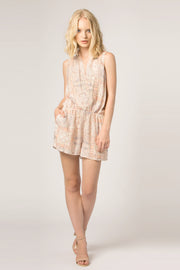 Orange Sleeveless Floral Wrap Romper by Lavender Brown 001