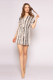 Black Striped Button Down Shirt Dress by Lavender Brown 001