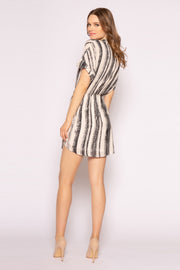 Black Striped Button Down Shirt Dress by Lavender Brown 002