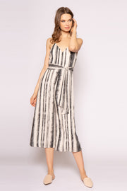 Ivory Sleeveless Striped Wide Leg Jumpsuit by Lavender Brown 001