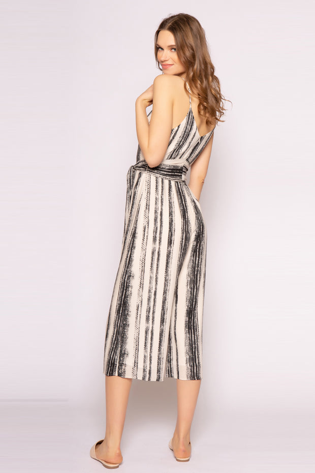 Ivory Sleeveless Striped Wide Leg Jumpsuit by Lavender Brown 002