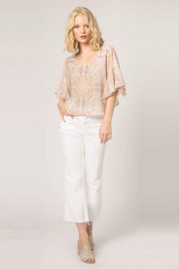 Orange Short Sleeve Floral Blouse by Lavender Brown 001