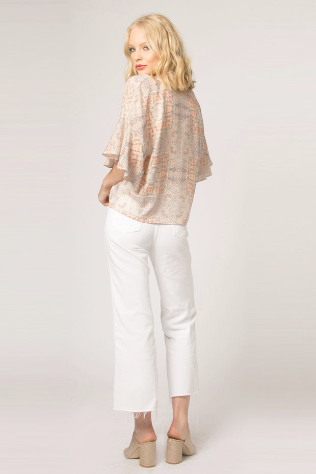 Orange Short Sleeve Floral Blouse by Lavender Brown 002