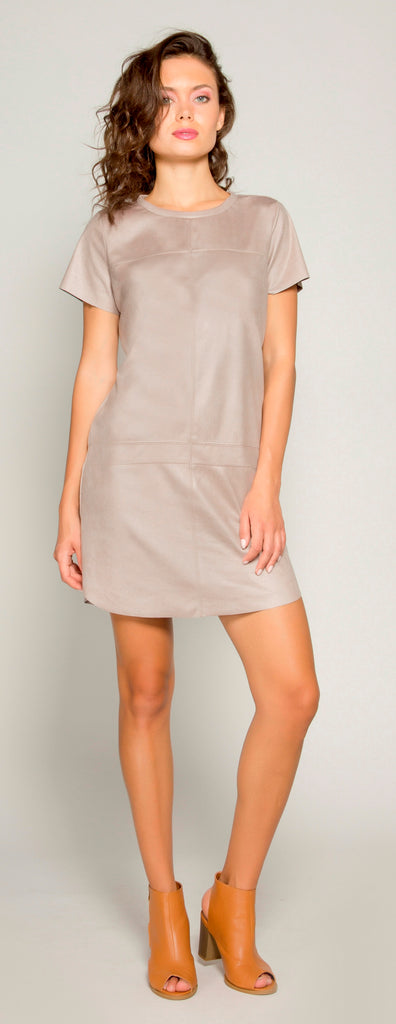 Beige Short Sleeve Suede Dress by Lavender Brown - 1