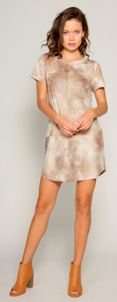 Beige Short Sleeve Tie Dye Suede Shift Dress by Lavender Brown - 1
