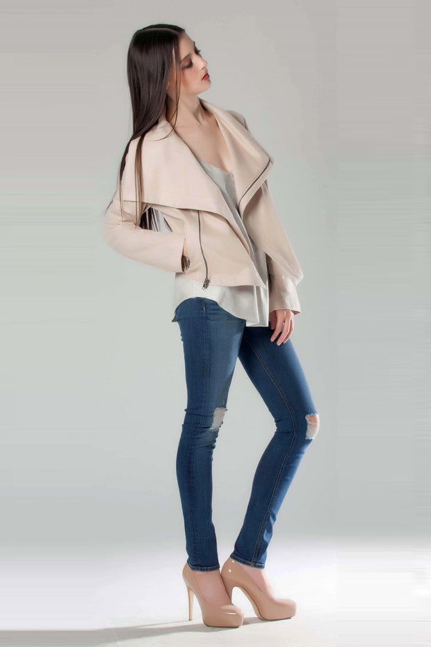 Beige Foil Printed Suede Jacket by Lavender Brown 001