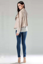 Beige Foil Printed Suede Jacket by Lavender Brown 002