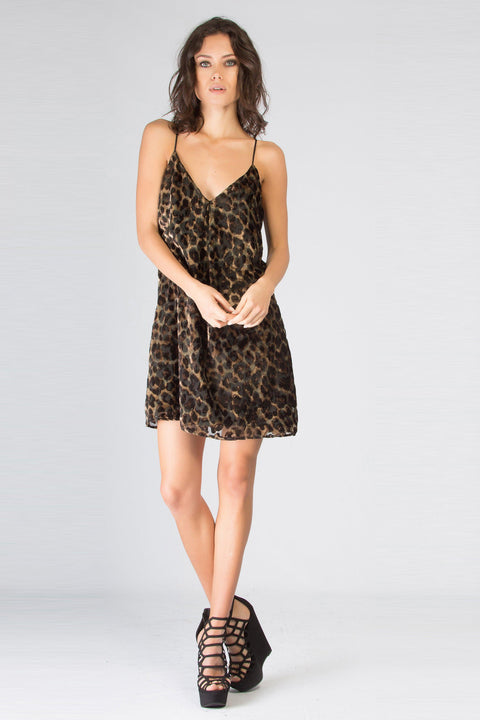 Brown Velvet Burnout Leopard Tank Dress by Lavender Brown 001