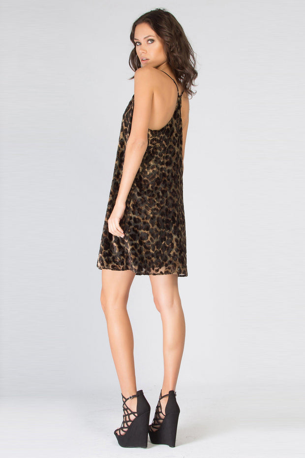 Brown Velvet Burnout Leopard Tank Dress by Lavender Brown 002