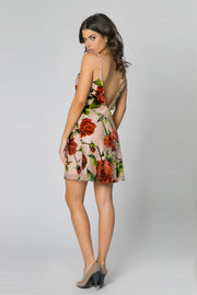 Taupe Sleeveless Velvet Burnout Floral Mini Dress by Lavender Brown 002