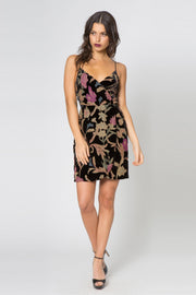 Black Backless Floral Velvet Burnout Wrap Dress by Lavender Brown 001