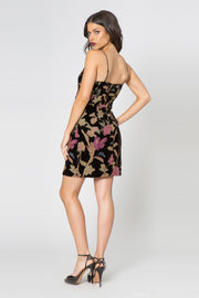 Black Backless Floral Velvet Burnout Wrap Dress by Lavender Brown 002