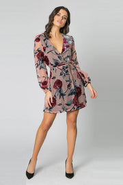 Mauve Long Sleeve Velvet Burnout Floral Wrap Dress by Lavender Brown 001