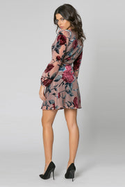 Mauve Long Sleeve Velvet Burnout Floral Wrap Dress by Lavender Brown 002
