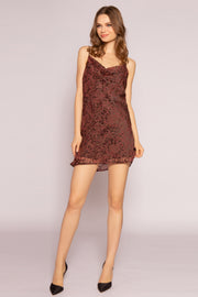 Burgundy Velvet Burnout Dress by Lavender Brown 001