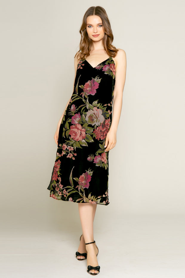 Black Floral Velvet Burnout Midi Dress by Lavender Brown 001