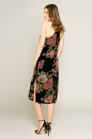 Black Floral Velvet Burnout Midi Dress by Lavender Brown 002