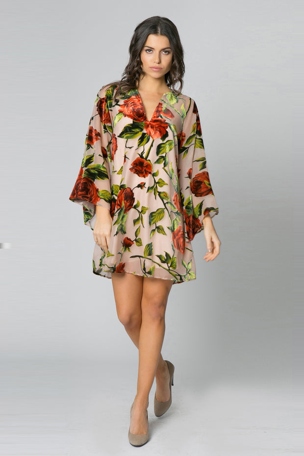 Taupe Long Sleeve Velvet Burnout Floral Dress by Lavender Brown 001